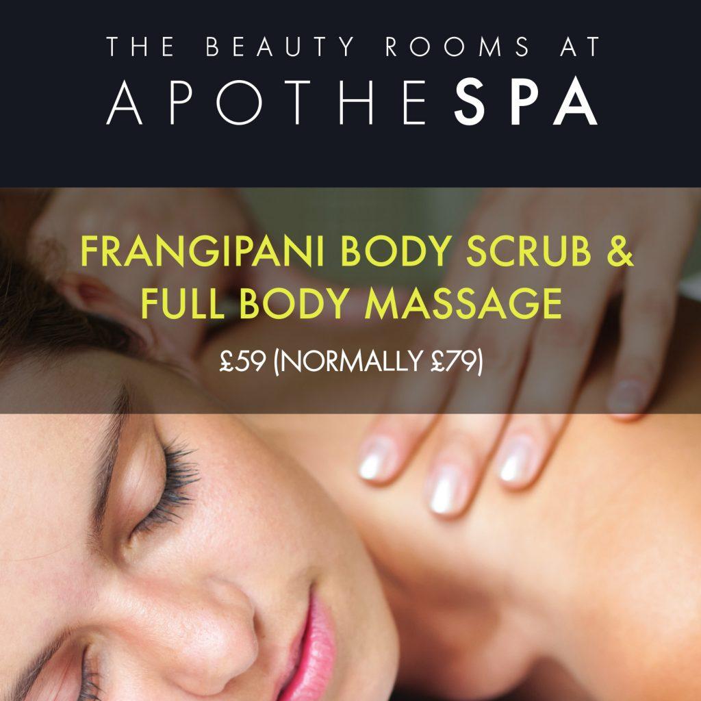 Frangipani Body Scrub & Full Body Massage in Honiton – Was £79 Now £59!